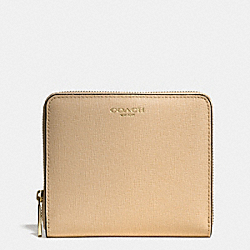 COACH MEDIUM SAFFIANO LEATHER CONTINENTAL ZIP WALLET - LIGHT GOLD/TAN - F50924