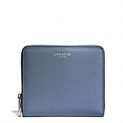 MEDIUM SAFFIANO LEATHER CONTINENTAL ZIP WALLET - f50924 - SILVER/CORNFLOWER