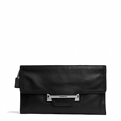 COACH TAYLOR LEATHER ZIP CLUTCH WITH HASP - SILVER/BLACK - f50926