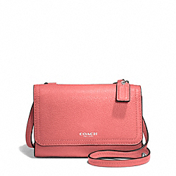 COACH AVERY LEATHER PHONE CROSSBODY - SILVER/TEAROSE - F50928