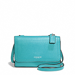 COACH AVERY LEATHER PHONE CROSSBODY - SILVER/TURQUOISE - F50928