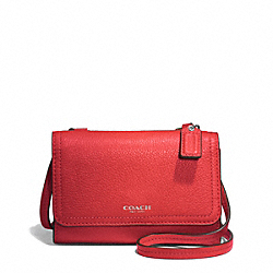 COACH AVERY PHONE CROSSBODY IN LEATHER - SILVER/VERMILLION - F50928