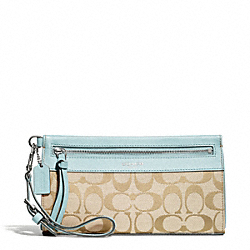 COACH SIGNATURE LARGE WRISTLET - SILVER/LIGHT GOLDGHT KHAKI/SEA MIST - F50956