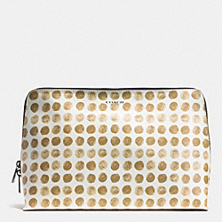 BLEECKER LARGE TRAVEL COSMETIC CASE IN PAINTED DOT COATED CANVAS - SILVER/TAN MULTI - COACH F50969