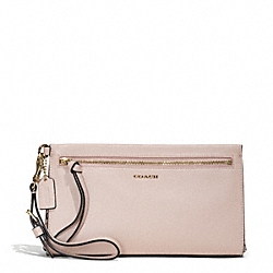 COACH MADISON TWO-TONE PYTHON EMBOSSED LEATHER LARGE WRISTLET - LIGHT GOLD/BLUSH - F50984