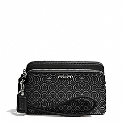 COACH F50995 - MADISON OP ART PEARLESCENT FABRIC DOUBLE ZIP WRISTLET  SILVER/BLACK