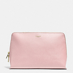 COACH LARGE TRAVEL COSMETIC CASE IN SAFFIANO LEATHER - LIGHT GOLD/NEUTRAL PINK - F50999