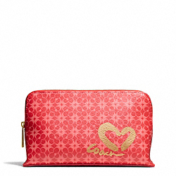 COACH WAVERLY HEART PRINT MEDIUM COSMETIC CASE - BRASS/LOVE RED MULTICOLOR - F51000