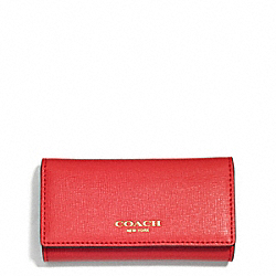 COACH SAFFIANO LEATHER 4 RING KEY CASE - LIGHT GOLD/LOVE RED - F51001