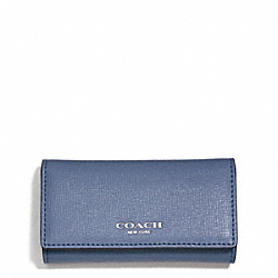 COACH SAFFIANO LEATHER 4 RING KEY CASE - SILVER/CORNFLOWER - F51001