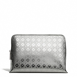 WAVERLY SIGNATURE EMBOSSED COATED CANVAS COSMETIC CASE - f51006 - SILVER/SILVER