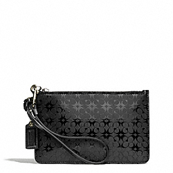 COACH WAVERLY SIGNATURE EMBOSSED COATED CANVAS SMALL WRISTLET - SILVER/BLACK - F51007