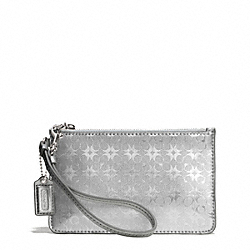 COACH WAVERLY SIGNATURE EMBOSSED COATED CANVAS SMALL WRISTLET - SILVER/SILVER - F51007