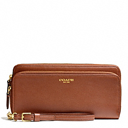 COACH BLEECKER LEATHER DOUBLE ACCORDION ZIP WALLET - BRASS/COGNAC - F51043