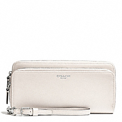 COACH BLEECKER LEATHER DOUBLE ACCORDION ZIP WALLET - SILVER/PARCHMENT - F51043