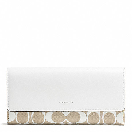 COACH PRINTED SIGNATURE SLIM ENVELOPE WALLET - SILVER/IVORY NEW KHAKI/WHITE - f51057