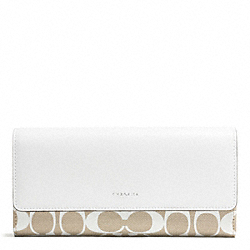 PRINTED SIGNATURE SLIM ENVELOPE WALLET - f51057 - SILVER/IVORY NEW KHAKI/WHITE
