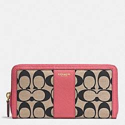 COACH PRINTED SIGNATURE ACCORDION ZIP WALLET - GOLD/LT KHA BLK/LOGANBERRY - F51059