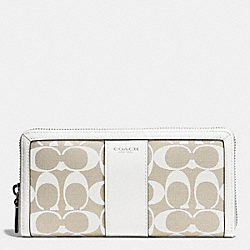 COACH PRINTED SIGNATURE ACCORDION ZIP WALLET - SILVER/IVORY NEW KHAKI/WHITE - F51059