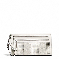 COACH BLEECKER STRIPED PERFORATED LEATHER LARGE CLUTCH - SILVER/PARCHMENT - F51079