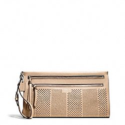 COACH BLEECKER STRIPED PERFORATED LEATHER LARGE CLUTCH - SILVER/TAN - F51079