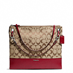 COACH MADISON SIGNATURE CONVERTIBLE HIPPIE - SILVER/KHAKI/SCARLET - F51090