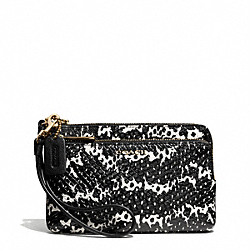 COACH MADISON TWO TONE PYTHON EMBOSSED LEATHER DOUBLE ZIP WRISTLET - LIGHT GOLD/BLACK - F51095