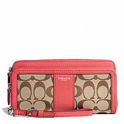 COACH SIGNATURE DOUBLE ZIP ACCORDION WALLET - ONE COLOR - F51097