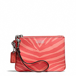 COACH ZEBRA PRINT SMALL WRISTLET - SILVER/HOT ORANGE - F51099