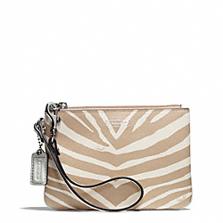 COACH ZEBRA PRINT SMALL WRISTLET - SILVER/LIGHT KHAKI - F51099