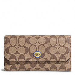 COACH PEYTON SIGNATURE CHECKBOOK WALLET - BRASS/KHAKI/PORCELAIN BLUE - F51103