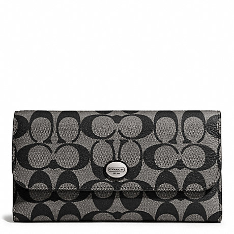 COACH PEYTON SIGNATURE CHECKBOOK - SILVER/BLACK/WHITE/BLACK - f51103