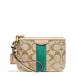 COACH SIGNATURE STRIPE SMALL WRISTLET - BRASS/KHAKI/EMERALD - F51106
