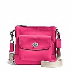 COACH CAMPBELL LEATHER SWINGPACK - SILVER/POMEGRANATE - F51107