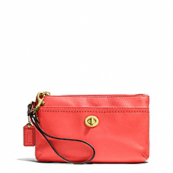 COACH CAMPBELL LEATHER MEDIUM WRISTLET - BRASS/HOT ORANGE - F51110