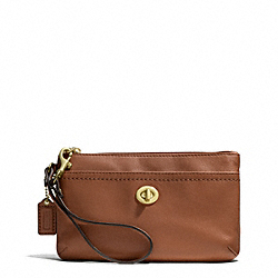 CAMPBELL LEATHER MEDIUM WRISTLET - f51110 - BRASS/SADDLE