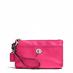 CAMPBELL LEATHER MEDIUM WRISTLET - f51110 - SILVER/POMEGRANATE