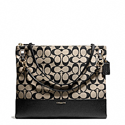 COACH MADISON PRINTED SIGNATURE CONVERTIBLE HIPPIE - LIGHT GOLD/KHAKI BLACK - F51127