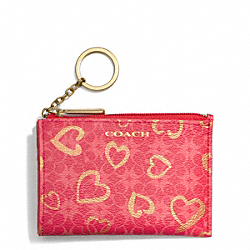 WAVERLY HEART PRINT COATED CANVAS MINI SKINNY - f51132 - BRASS/LOVE RED MULTICOLOR