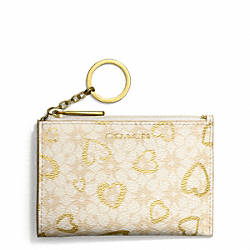 COACH WAVERLY HEART PRINT COATED CANVAS MINI SKINNY - IVORY/LIGHT KHAKI/GOLD - F51132