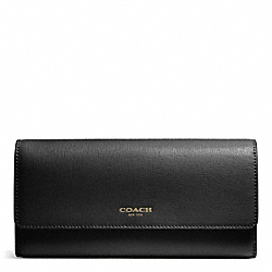 COACH SAFFIANO LEATHER SLIM ENVELOPE WALLET - BRASS/BLACK - F51133