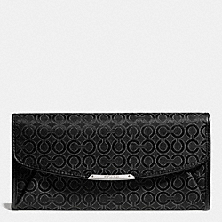 COACH MADISON SLIM ENVELOPE WALLET IN PEARLESCENT OP ART FABRIC - SILVER/BLACK - F51135