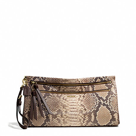 COACH MADISON PYTHON EMBOSSED LARGE CLUTCH - LIGHT GOLD/BROWN MULTI - f51141