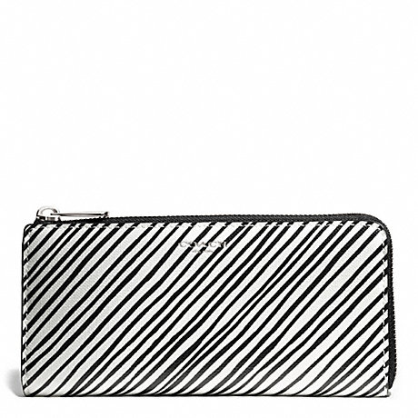 COACH BLEECKER BLACK AND WHITE PRINT COATED CANVAS SLIM ZIP WALLET - SILVER/WHITE MULTICOLOR - f51142