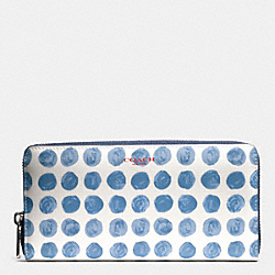 COACH BLEECKER  PAINTED DOT COATED CANVAS ACCORDION ZIP WALLET - SILVER/BLUE MULTI - F51144