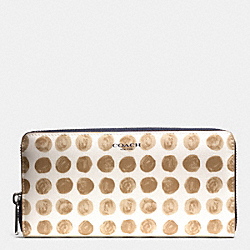 BLEECKER PAINTED DOT COATED CANVAS ACCORDION ZIP WALLET - SILVER/TAN MULTI - COACH F51144