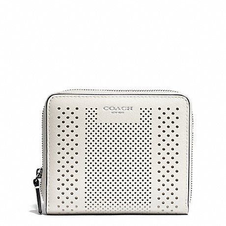 COACH BLEECKER STRIPED PERFORATED LEATHER MEDIUM CONTINENTAL ZIP WALLET - SILVER/PARCHMENT - f51146