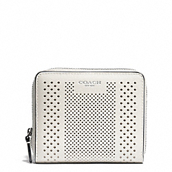 BLEECKER STRIPED PERFORATED LEATHER MEDIUM CONTINENTAL ZIP WALLET - SILVER/PARCHMENT - COACH F51146