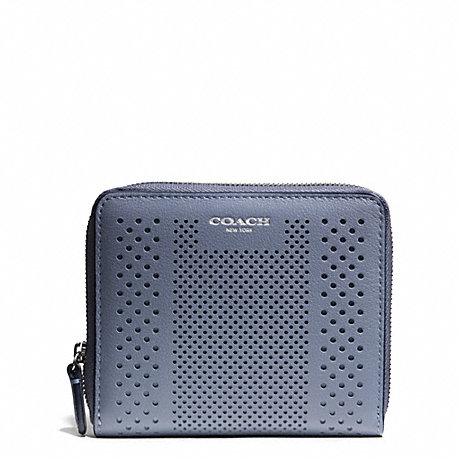 COACH BLEECKER STRIPED PERFORATED LEATHER MEDIUM CONTINENTAL ZIP WALLET - SILVER/TAN - f51146