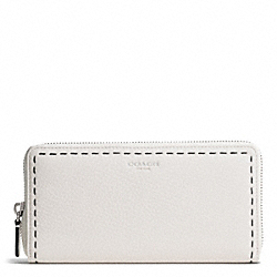 COACH BLEECKER  STITCHED PEBBLED ACCORDION ZIP WALLET - SILVER/PARCHMENT - F51147